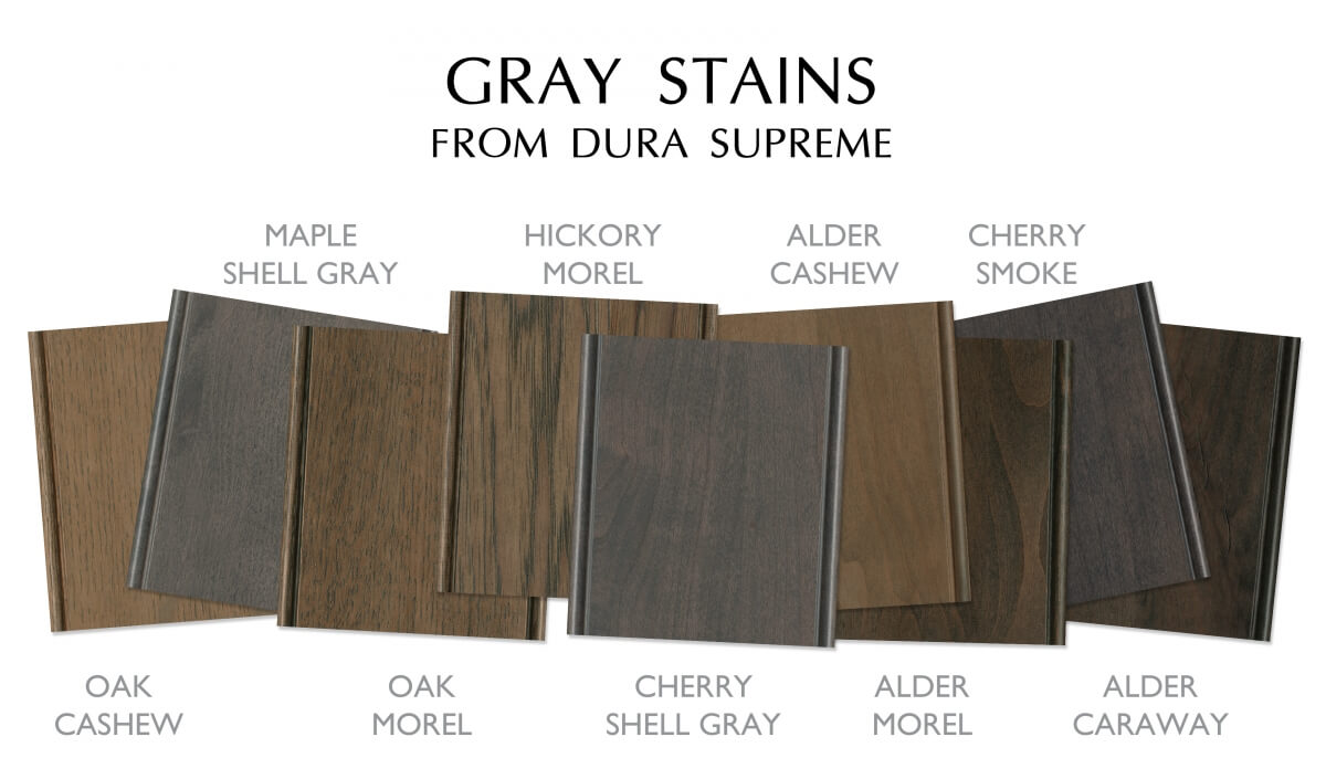 Gray stain colors for kitchen and bath cabinets from Dura Supreme Cabinetry.