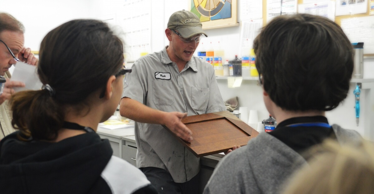 A factory tour to educate kids about cabinet making.