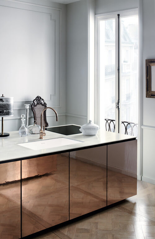 Example of a thinner countertop design. Photo by Corian Designs featuring the Corian® Arrowroot countertop surface.