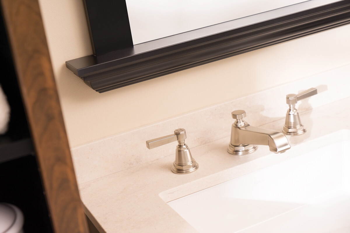 Brushed Nickel faucets work with almost any color palette.