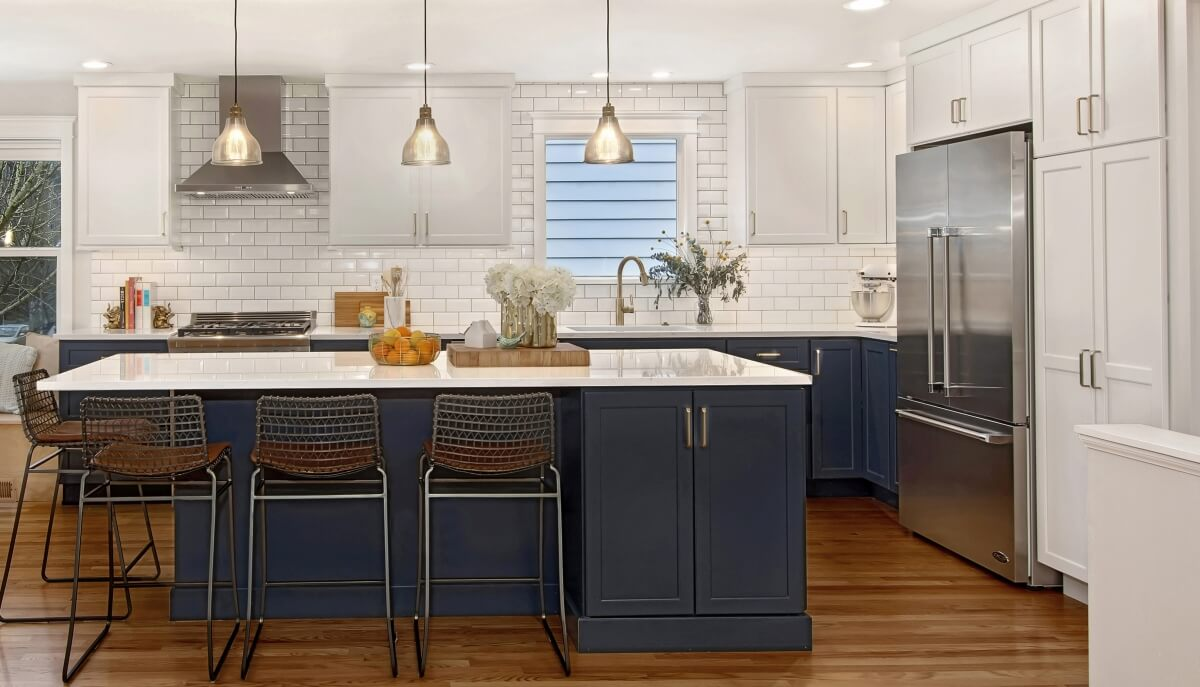 A nautical-inspired kitchen featuring Dura Supreme's