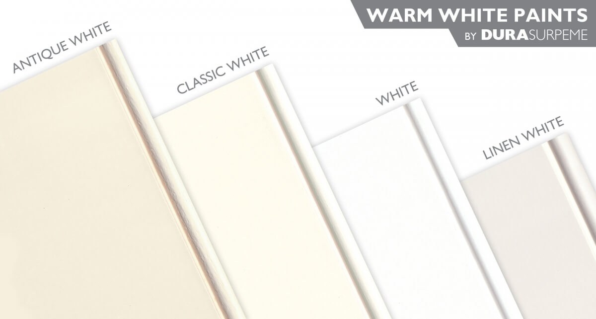Warm White Paint Colors for kitchen & bath cabinets from Dura Supreme Cabinetry