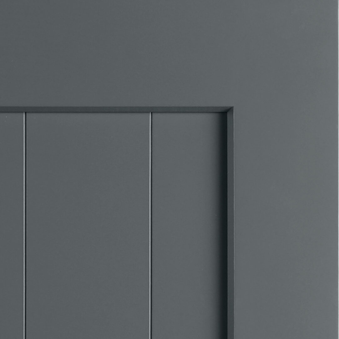 Storm Gray paint by Dura Supreme in the Carson V-Groove Door Style