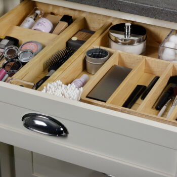Cabinet storage options from Dura Supreme Cabinetry for bathroom drawers. Cutlery Divider Tray, Spice Rack, and Partitions (For Other Rooms).