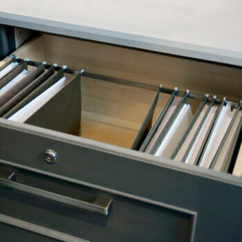 Home Office Cabinetry and Built-in Desk with File cabinet drawer storage. Lateral Filing Drawer by Dura Supreme Cabinetry