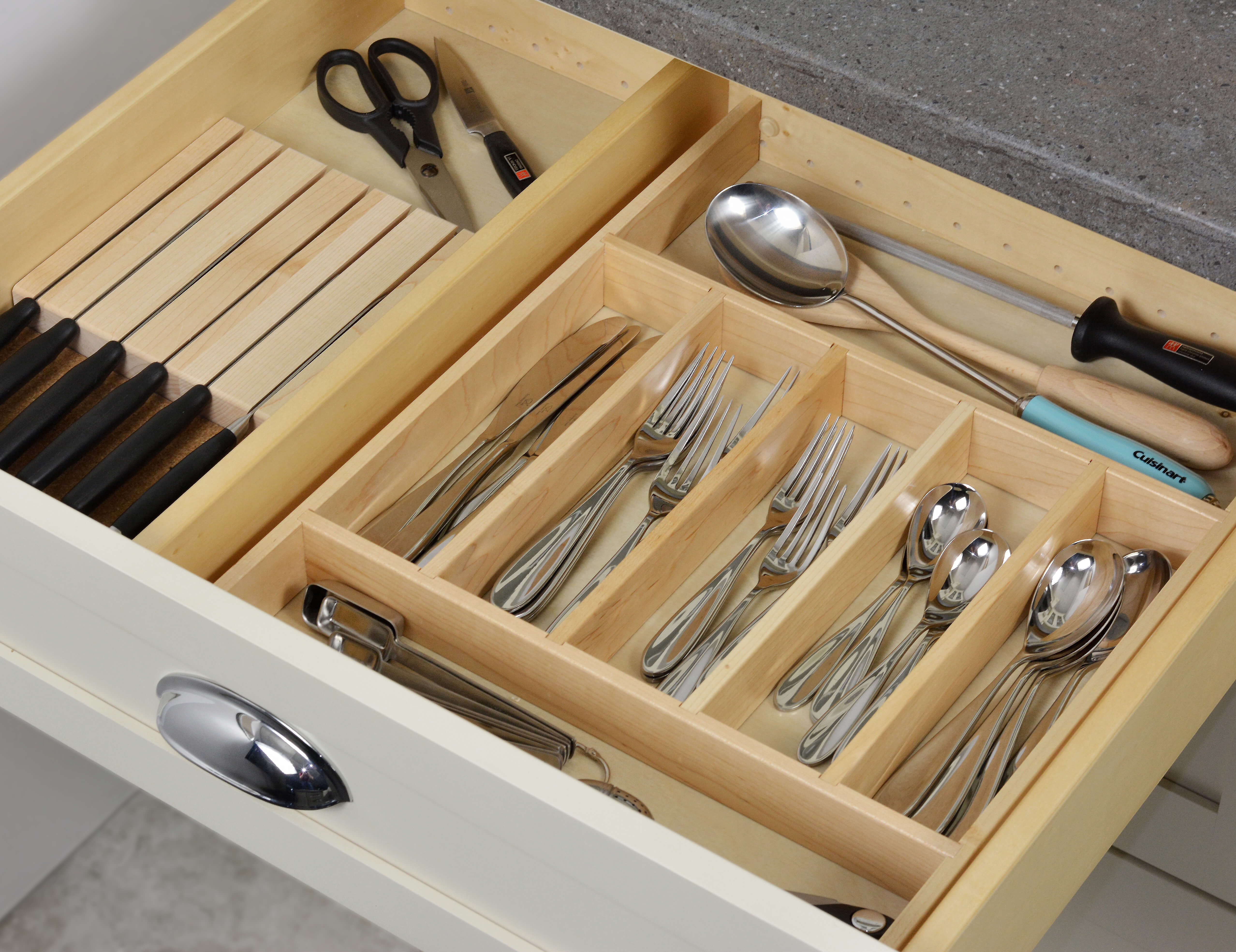 Cutlery Divider Tray + Knife Holder Combo