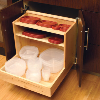 Neatly store your plastic storage containers and lids in this convenient roll-out accessory from Dura Supreme Cabinetry.