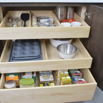 Adjustable Drawer Partitions in Roll-Out Shelf from Dura Supreme Cabinetry
