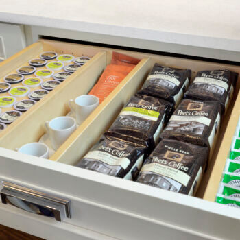 Create a beverage center for coffee, tea, and k-cup with Dura Supreme's Drawer K-Cup Organizer with Drawer Partitions for kitchen cabinets.