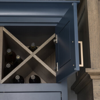 """X"" Wall Wine Cube behind cabinet doors from Dura Supreme Cabinetry"