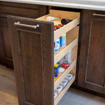 Vanity Pull-Out Storage Bathroom Cabinet Accessory by Dura Supreme Cabinetry.