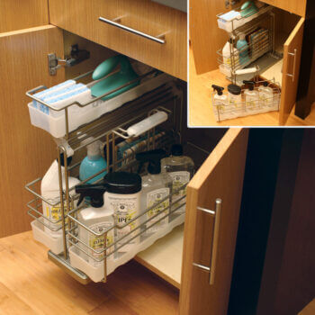 Organize cleaning supplies and other kitchen or bath necessities in a Dura Supreme convenient roll-out Sink Base Pull-Out Caddy with a detachable, portable basket. This cabinet storage solution works great in any cabinet, by the sink, in the bathroom, etc.