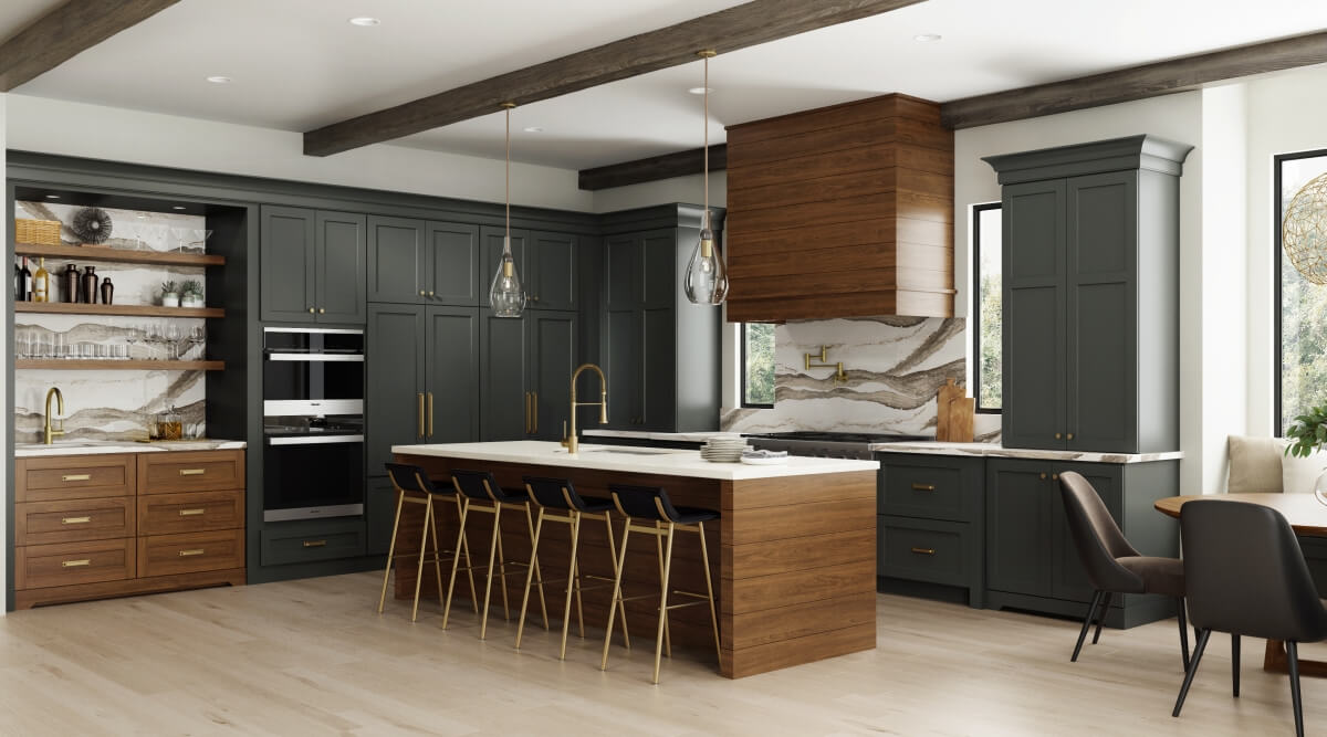 Dark gray and rich stained wood kitchen with modern farmhouse style, shiplap wood hood, shiplap kitchen island end cap and brassy hardware and fixtures. Features floor to ceiling dark gray painted cabinets. Cabinetry from Dura Supreme.