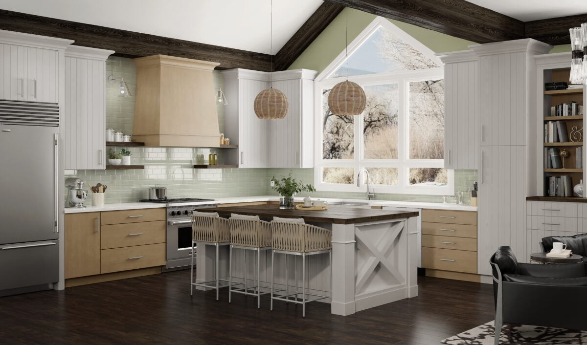 A modern farmhouse kitchen with off-white shiplap styled cabinet doors and light naturally stained wood finishes.