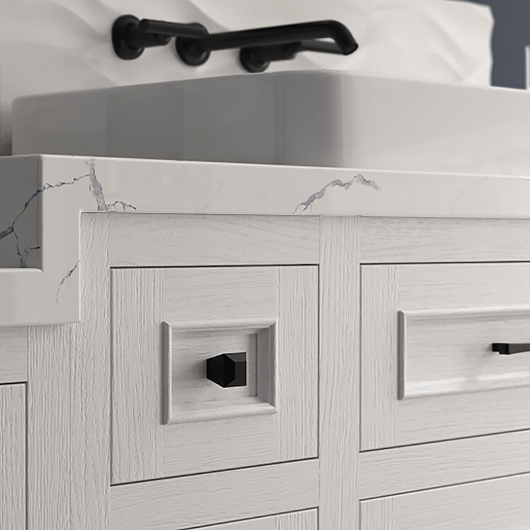 A close up of painted textured cabinets from Dura Supreme. Shown in a bright white paint on quarter-sawn red oak for a unique, trendy textured look.