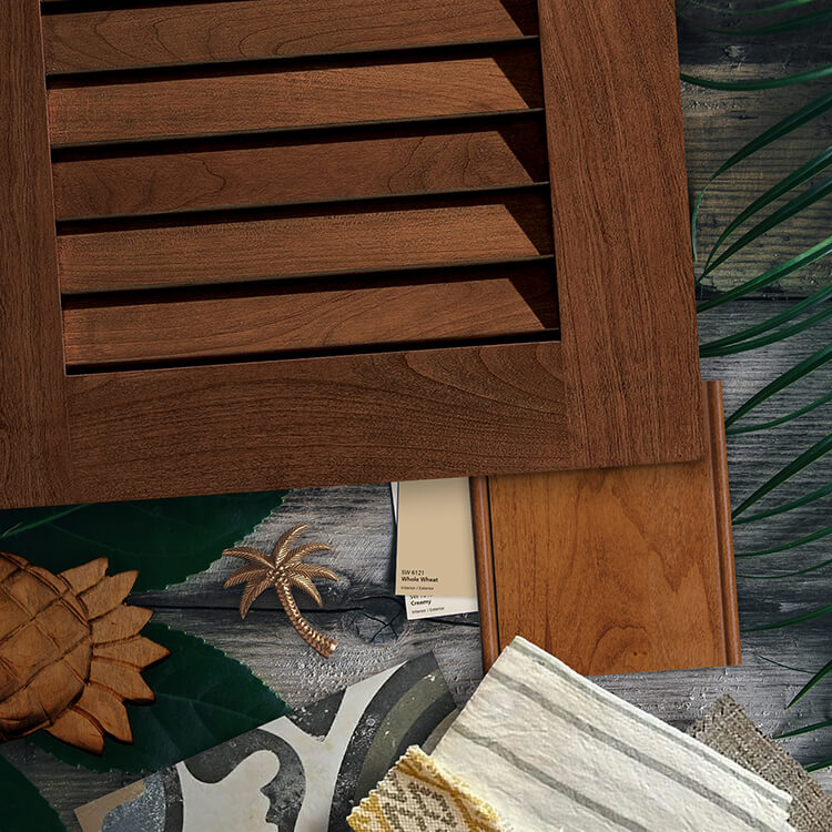 Dura Supreme Cabinetry cabinet door style. A tropical British Colonial West Indies style design concept for a kitchen design. A close up mood board flat lay with a cabinet door and finishes. How to Create a West Indies Style Kitchen.