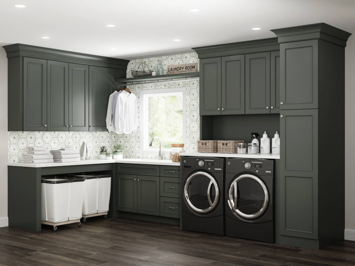 Dura Supreme cabinetry with Rock Bottom finish in a laundry room