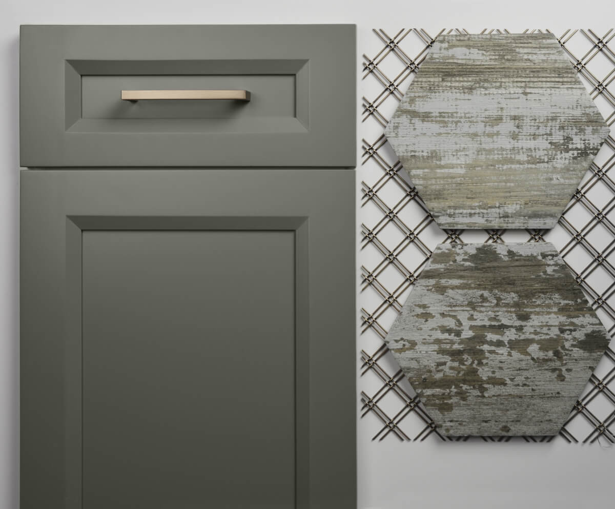 Dura Supreme cabinetry, Lauren door style in Attitude Gray finish