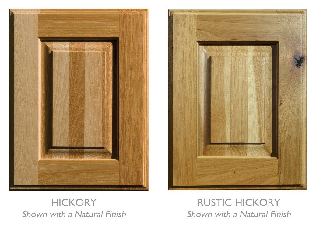 Standard Hickory wood cabinets verses Rustic Hickory wood Cabinets from Dura Supreme