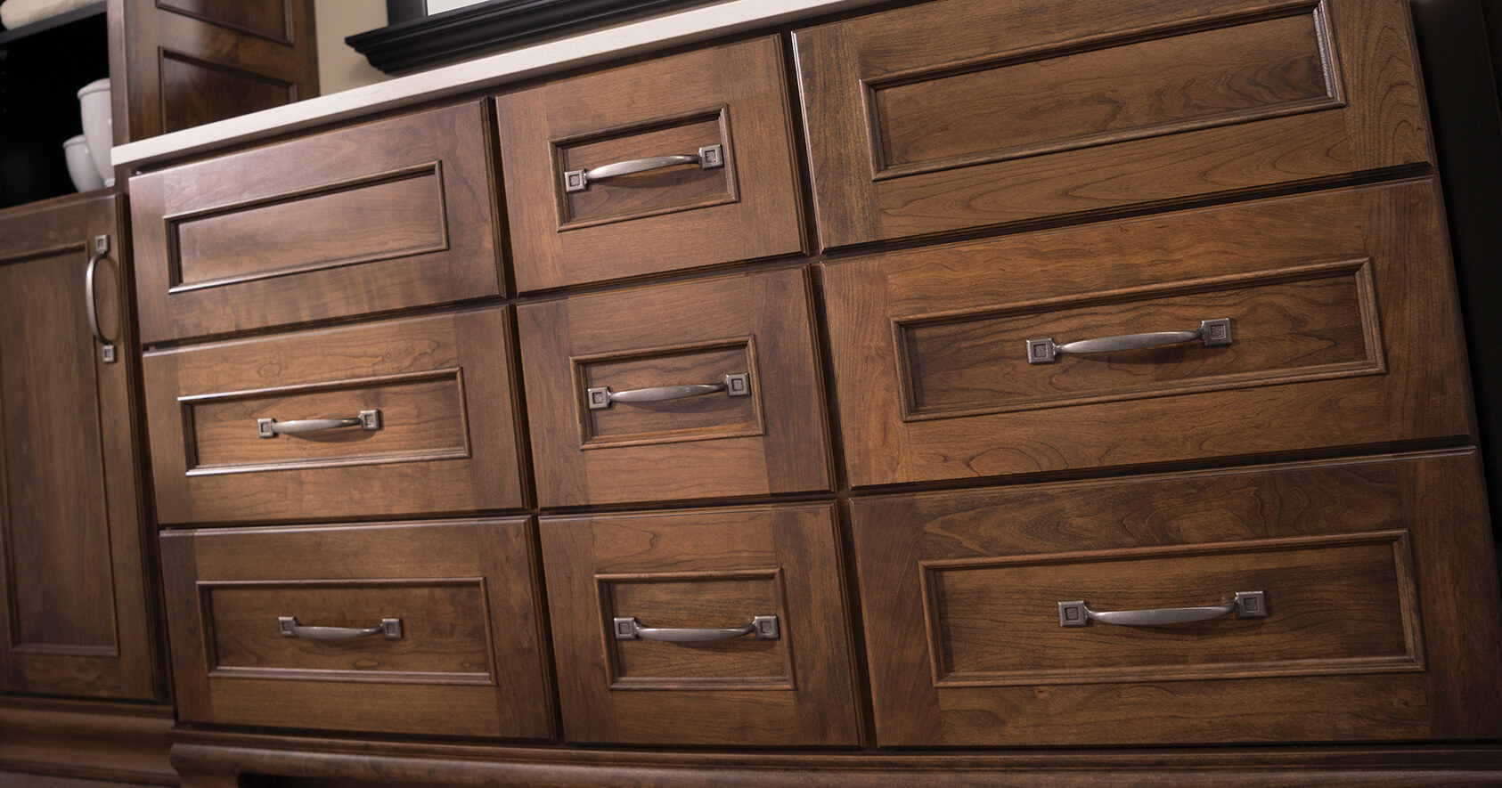 Sustainable hardwood products are used for Dura Supreme Cabinetry Kitchen and Bath Cabinets.