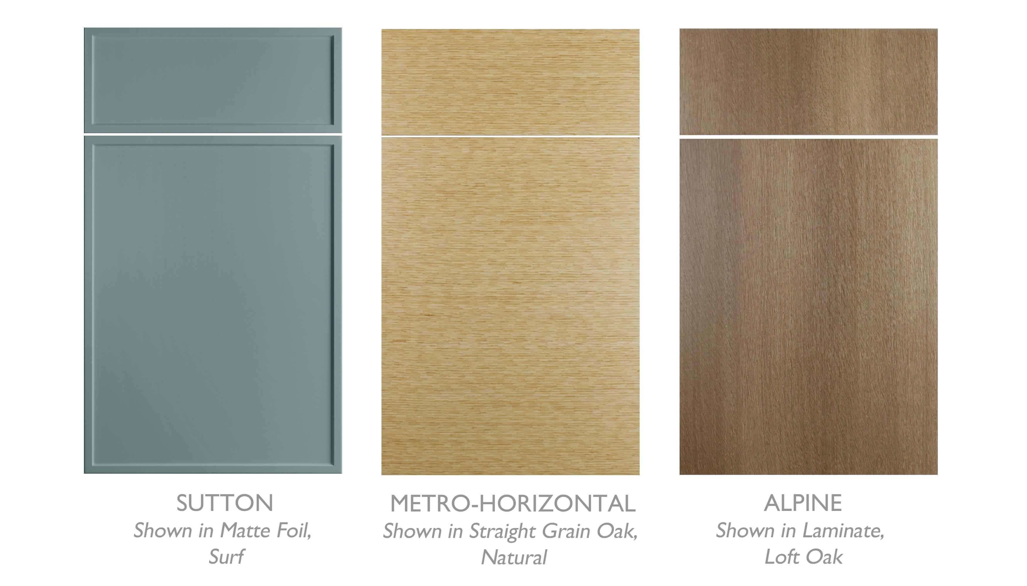 Asian Zen style cabinet door styles from Dura Supreme Cabinetry. Sutton in Surf Matte Foil, Metro-Horizontal in Straight Grain Oak Natural, and Alpine in Loft Oak Laminate.